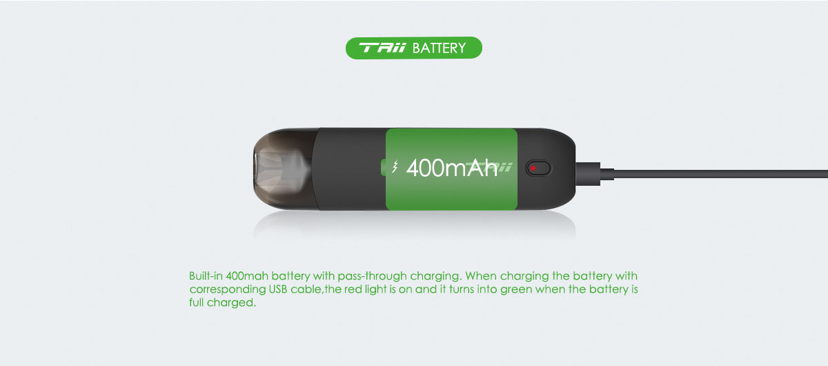built-in 400mAh battery with passing through charging
